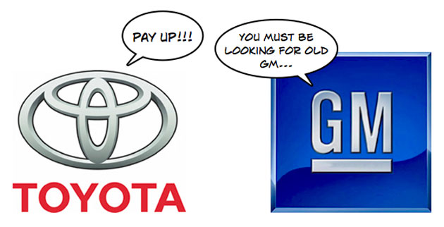 Toyota logo tells GM logo to pay up