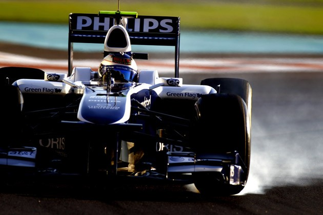 Rubens Barrichello tests the Williams FW32 with new Pirelli tires at Yas Marina Circuit in Abu Dhabi