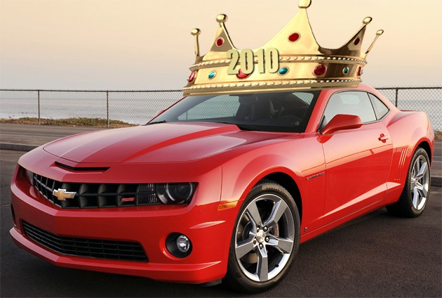 Chevrolet Camaro wearing 2010 sales king crown