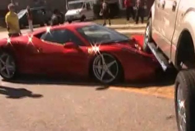 Ferrari 458 crashes into Ford F-150