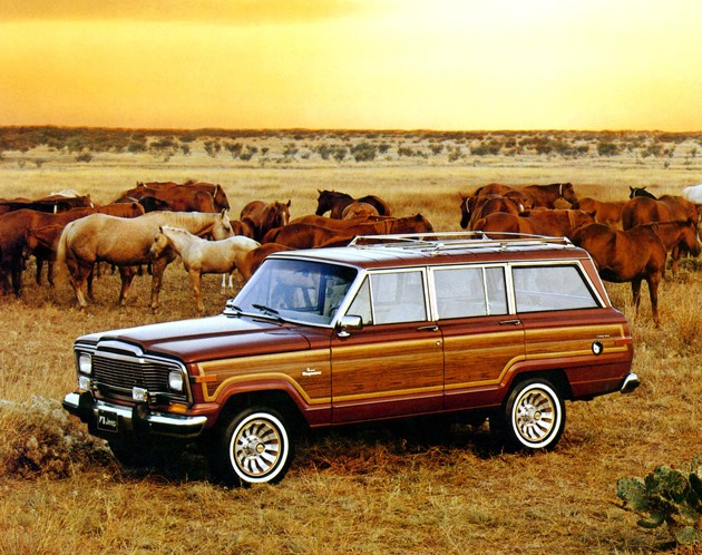 Jeep Grand Wagoneer with horses