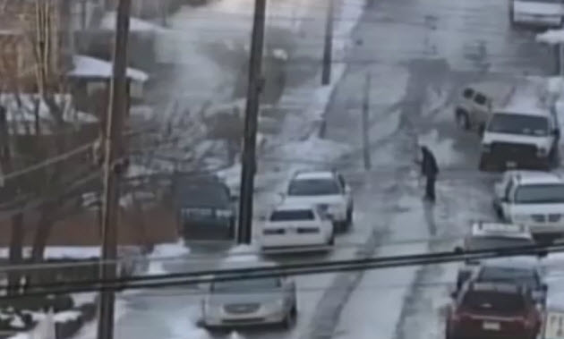 Icy hill in Pittsburgh causes vehicular mahem