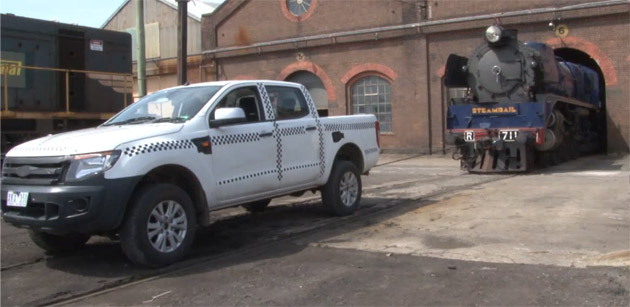 Global Ford Ranger pulling locomotive