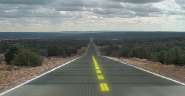 solar-powered glass road
