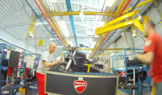 Ducati Diavel on the production line