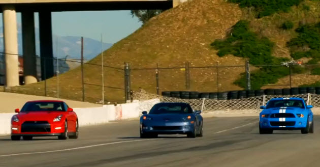 nissan gt-r corvette z06 and mustang shelby gt500 in a drag race