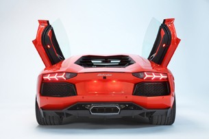 Lamborghini Aventador LP700-4 rear view with scissor doors open