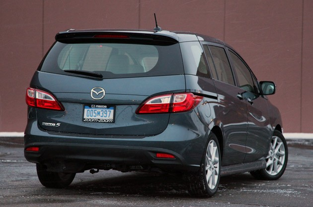2012 Mazda5 rear 3/4 view