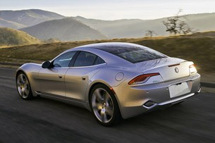 2012 Fisker Karma rear 3/4 driving view