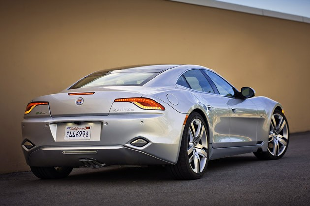 2012 Fisker Karma rear 3/4 view