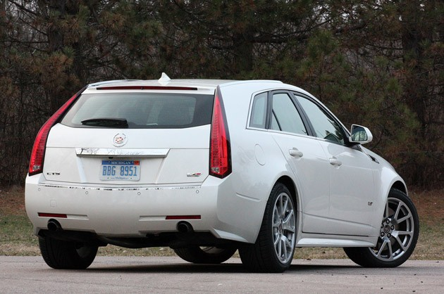 2011 Cadillac CTS-V Sport Wagon rear 3/4 view