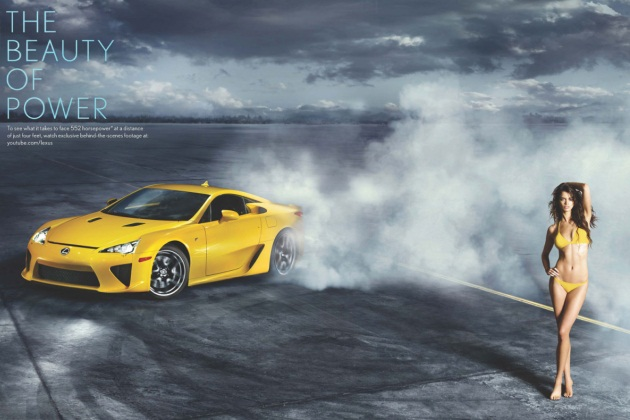 Rianne ten Haken circled by the Lexus LFA