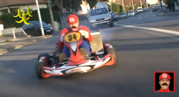remi gaillard creates real life version of mario kart