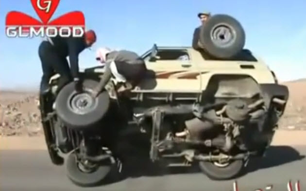 moving car tire change in saudi arabia