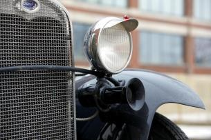 1930 Ford Model A Tudor sedan grille and headlamp