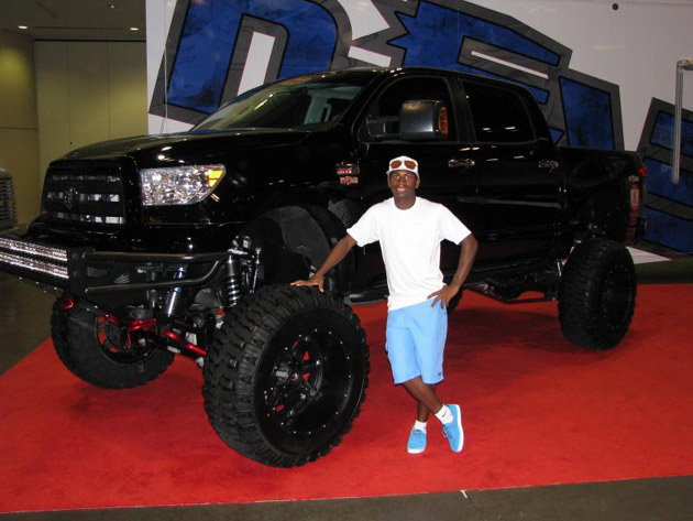 AMA Supercross champ James Stewart with his truck