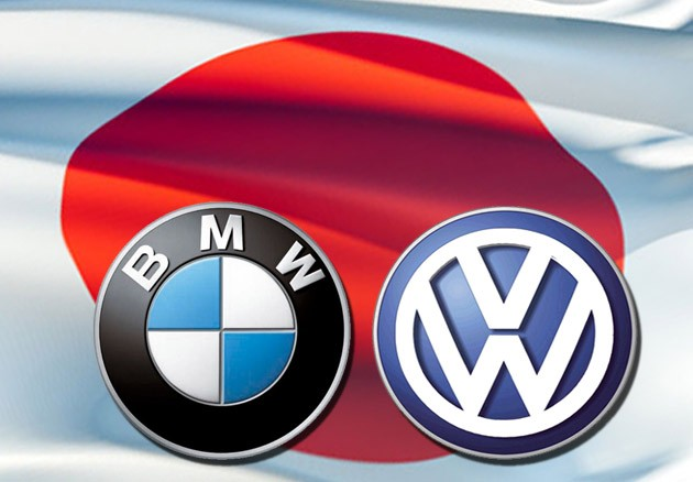 japan flag bmw and vw logo
