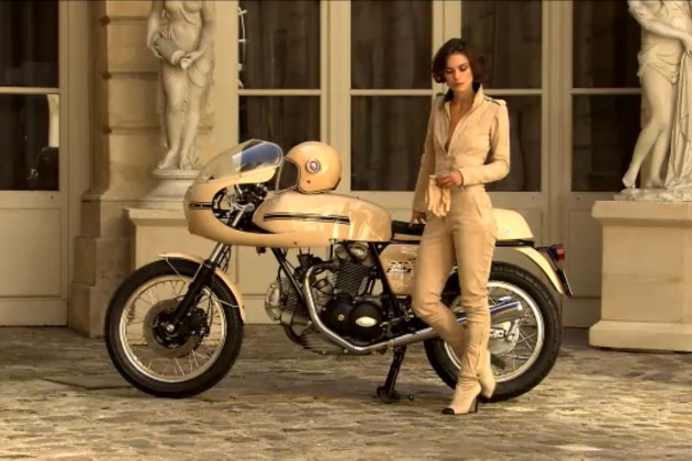 Kaira Knightley on a Ducati 750 Sport for Chanel