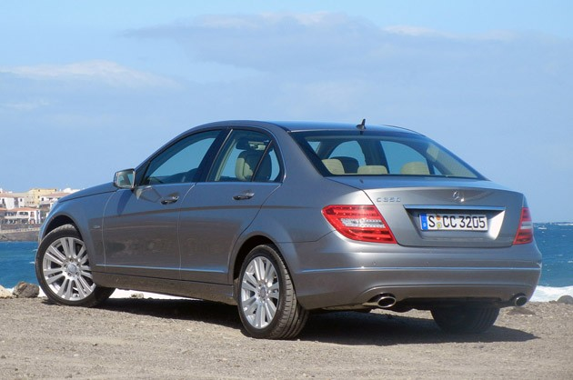2012 Mercedes-Benz C350 Sedan rear 3/4 view