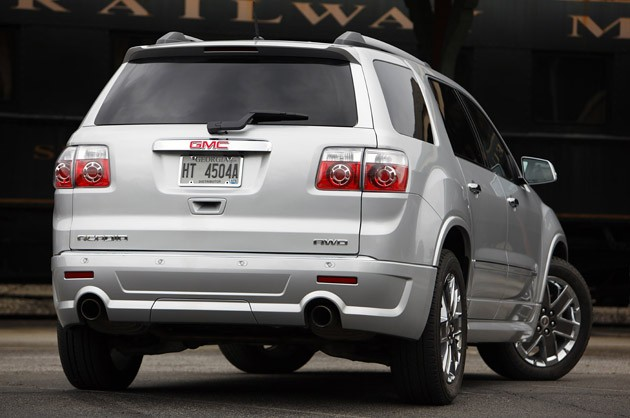 2011 GMC Acadia Denali rear 3/4 view