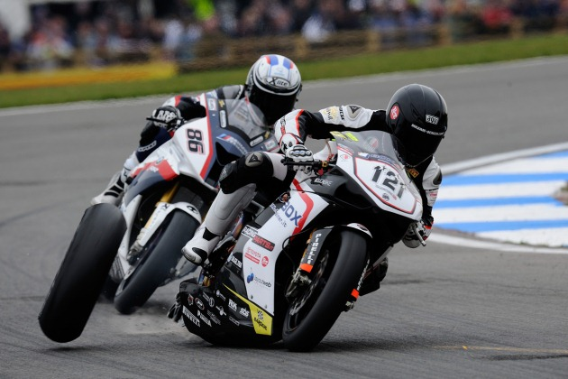 Maxime Berger loses a wheel during World Superbike Racing at Donington Park