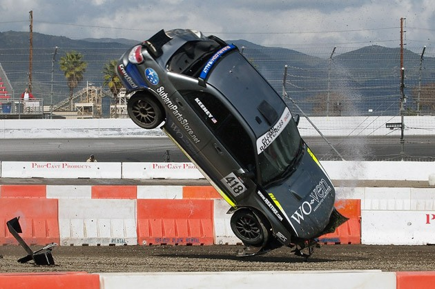 Jimmy Keeney's Subaru WRX crash at the Global RallyCross Championship