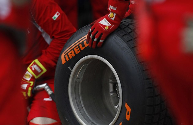 Pirelli tires at the Ferrari pit