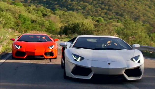 Lamborghini Aventador coupes give chase