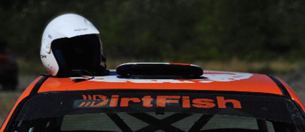 DirtFish Rally School helmet on a Subaru