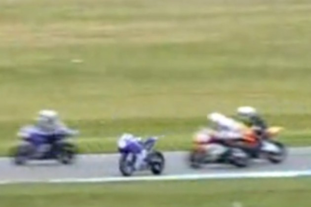 Ghost riding motorcycle at Daytona SuperSport race