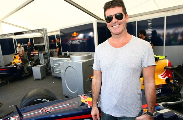 Simon Cowell in the Red Bull Racing garage