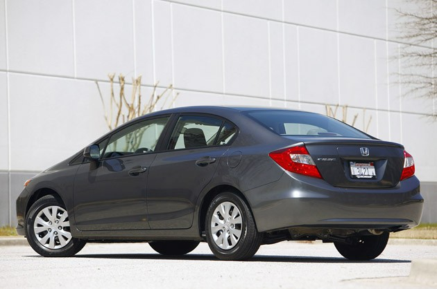2012 Honda Civic rear 3/4 view