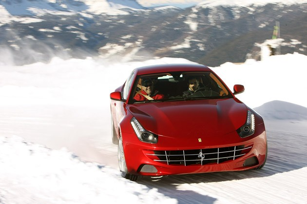 2012 Ferrari FF driving in snow