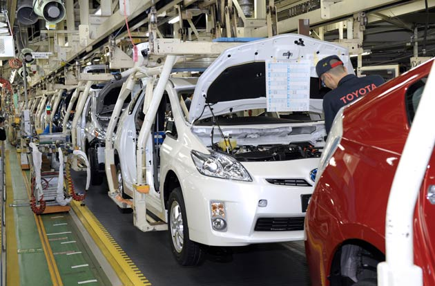 Toyota Prius production line in Japan