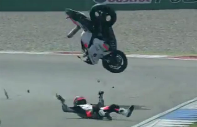 Sam Lowes goes down at Assen
