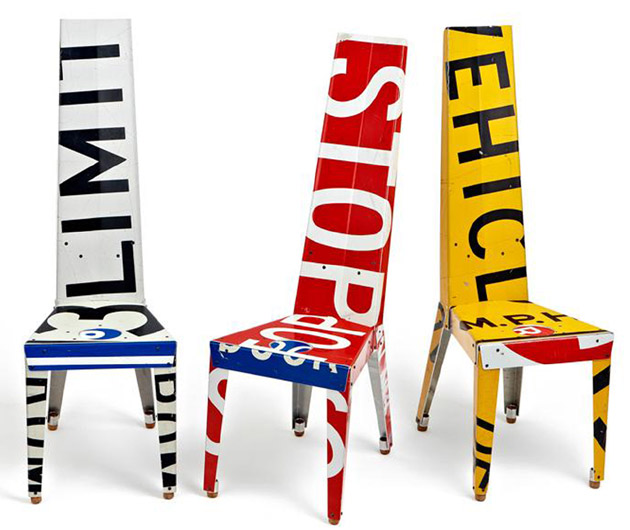 Recycled Street Sign Furniture Is Uncomfortably Cool