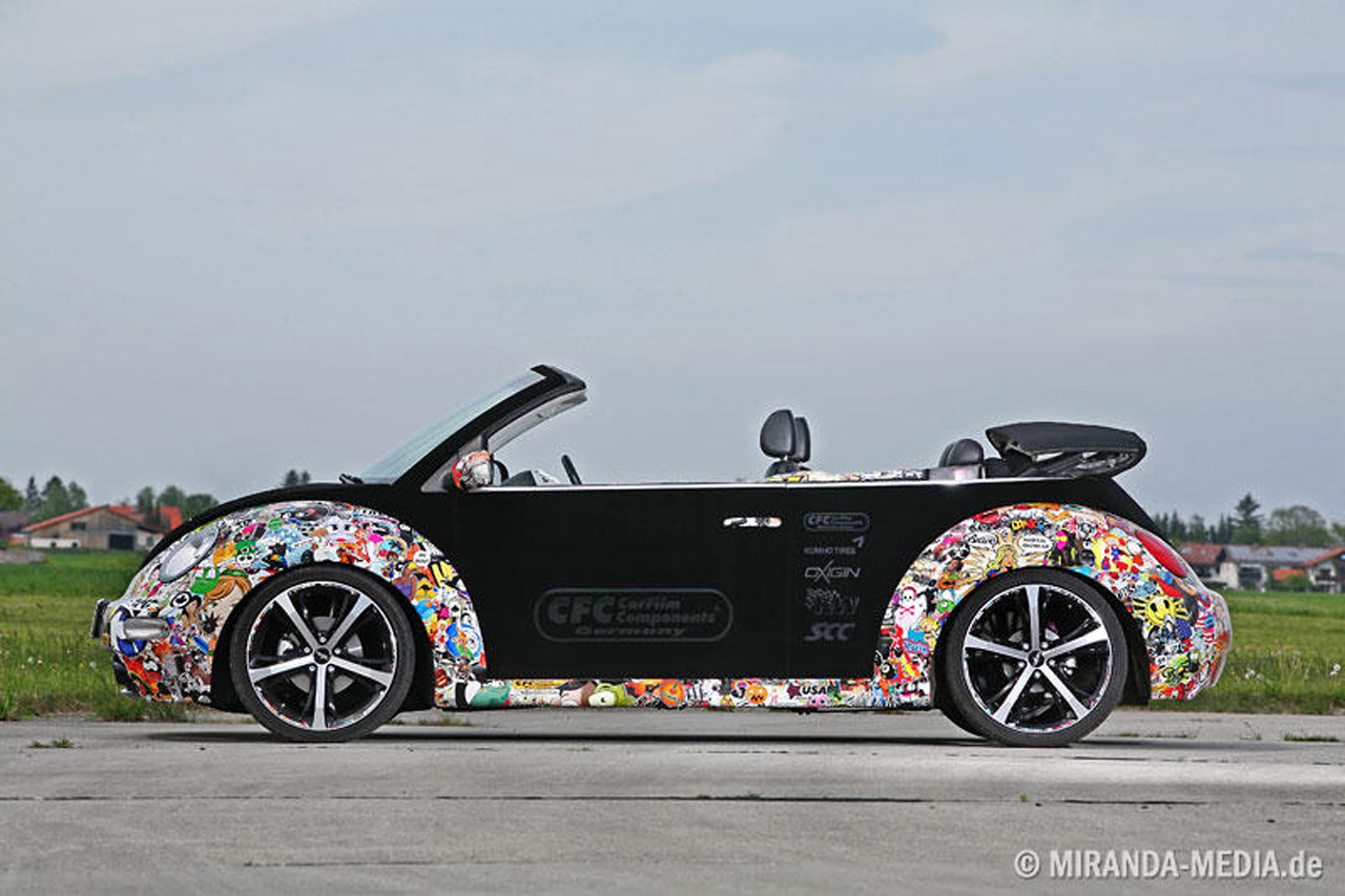 vw new beetle convertible gets stickerbombed autoblog. Black Bedroom Furniture Sets. Home Design Ideas