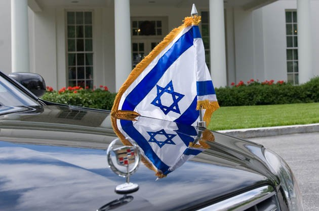 Cadillac limousine carries Israeli PM Netanyahu to the White House