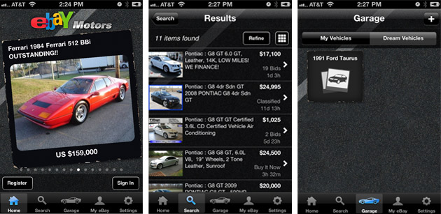 eBay Motors iPhone app