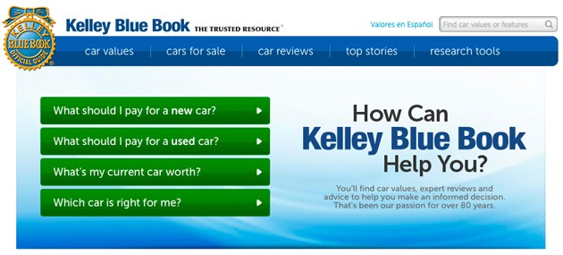 kelley blue book new homepage