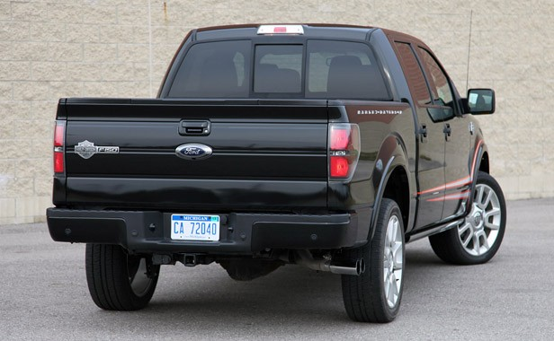 2011 Ford F-150 Harley-Davidson rear 3/4 view