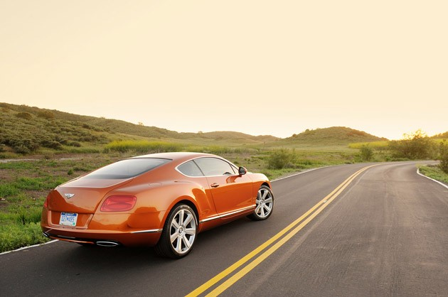 2011 Bentley Continental GT rear 3/4 view