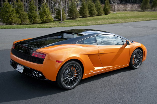 2011 Lamborghini Gallardo LP 550-2 Bicolore rear 3/4 view