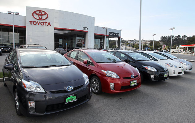 Toyota Prius models at a dealership