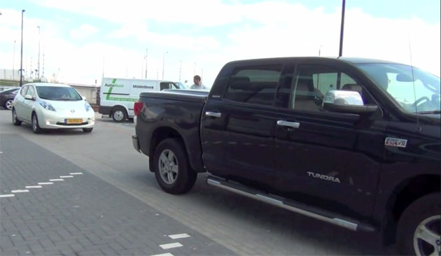 Towing a Nissan Leaf with a Toyota Tundra