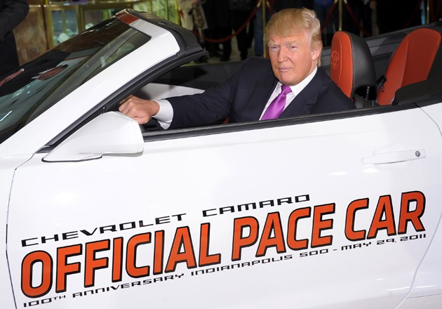 Donald Trump in the Indy 500 pace car