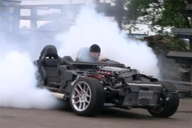 Dodge Viper doing a burnout