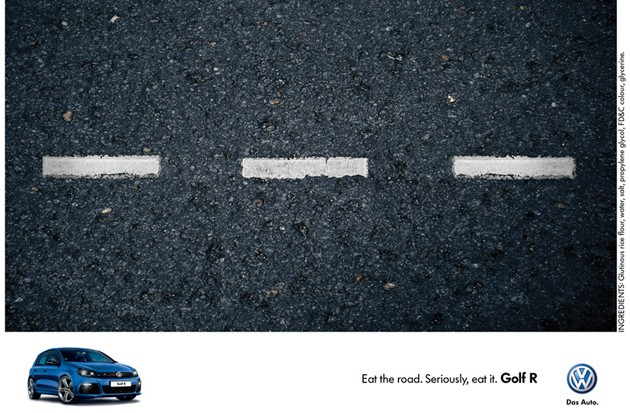 volkswagen golf r edible ad