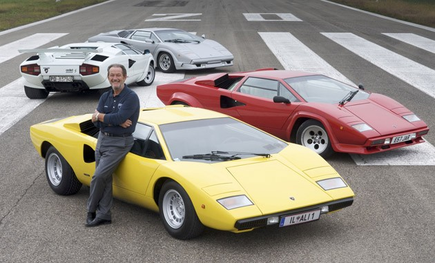 Valentino Balboni and the four Lamborghini Countaches