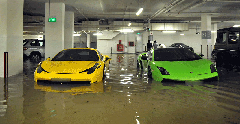 Millions In Exotic Cars Go Swimming In Flooded Singapore
